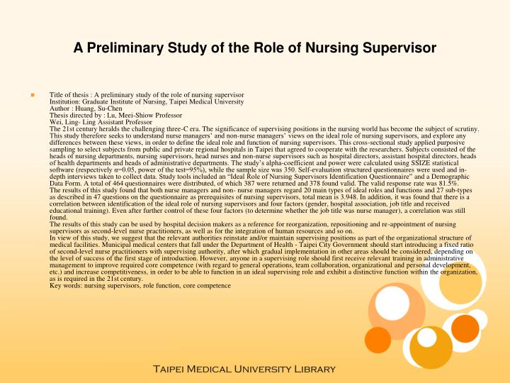 A preliminary study of the role of nursing supervisor