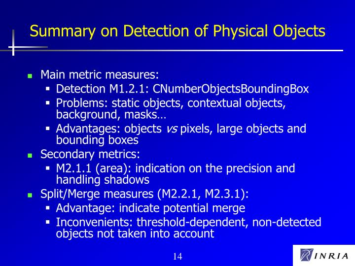 Summary on Detection of Physical Objects