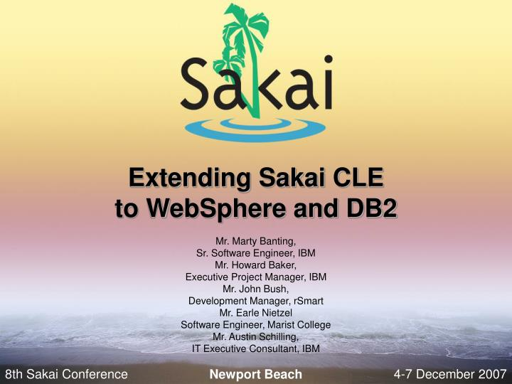 Extending sakai cle to websphere and db2