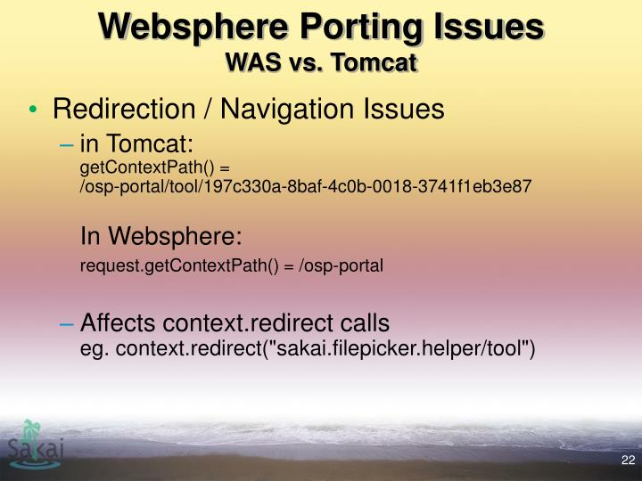 Websphere Porting Issues