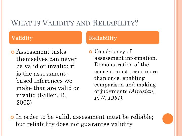 validity and reliability matrix worksheet Reliability and validity worksheet  instrument reliability  a reliable instrument is one that is consistent in what it measuresif, for example, an individual scores highly on the first administration of a test and if the test is reliable, he or she should score highly on a second administration.
