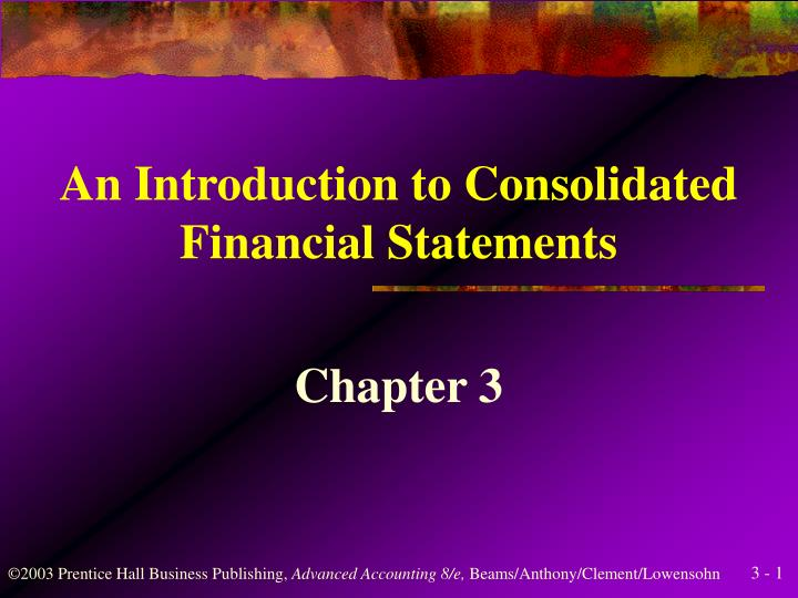 an introduction to consolidated financial statements n.