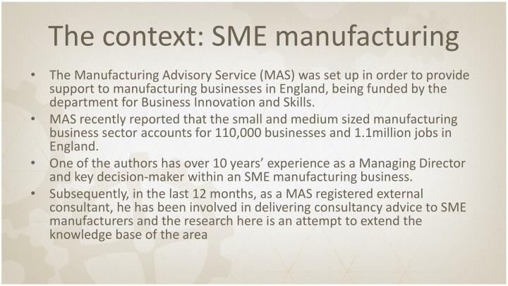 The context: SME manufacturing