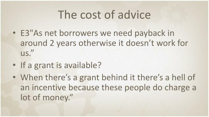 The cost of advice