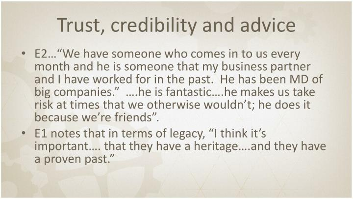 Trust, credibility and advice