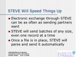 steve will speed things up