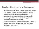 product decisions and economics