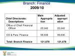 branch finance 2009 10
