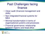 past challenges facing finance