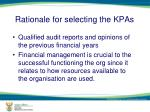rationale for selecting the kpas