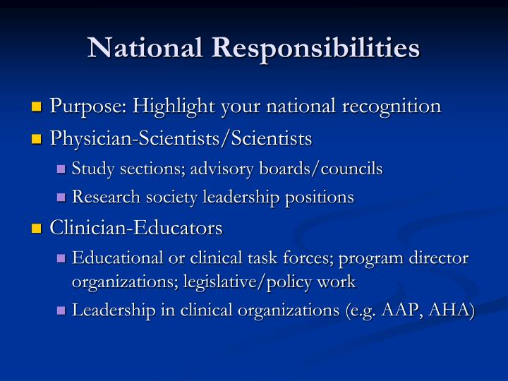 National Responsibilities