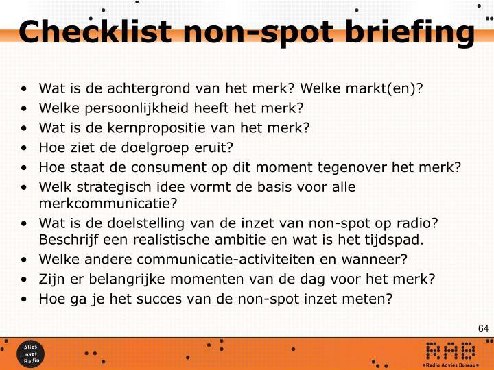 Checklist non-spot briefing