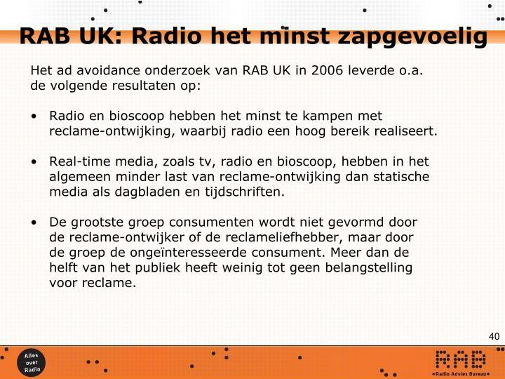 RAB UK: Radio het minst zapgevoelig