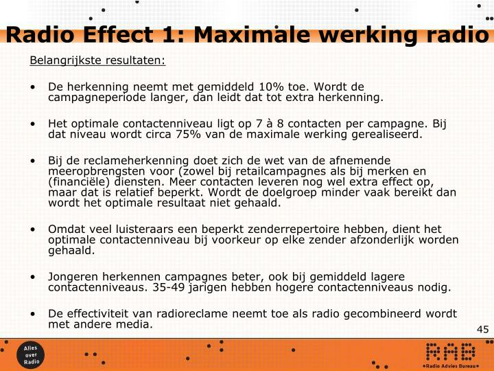 Radio Effect 1: Maximale werking radio