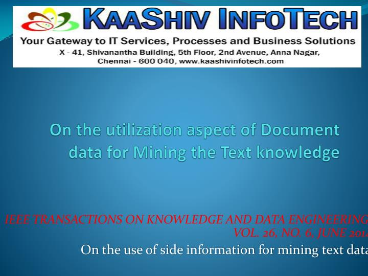 on the utilization aspect of document data for mining the text knowledge n.