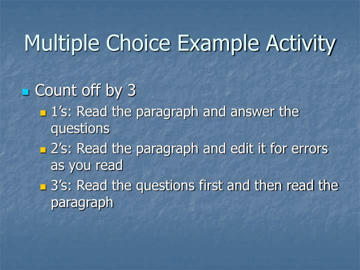 Multiple choice example activity