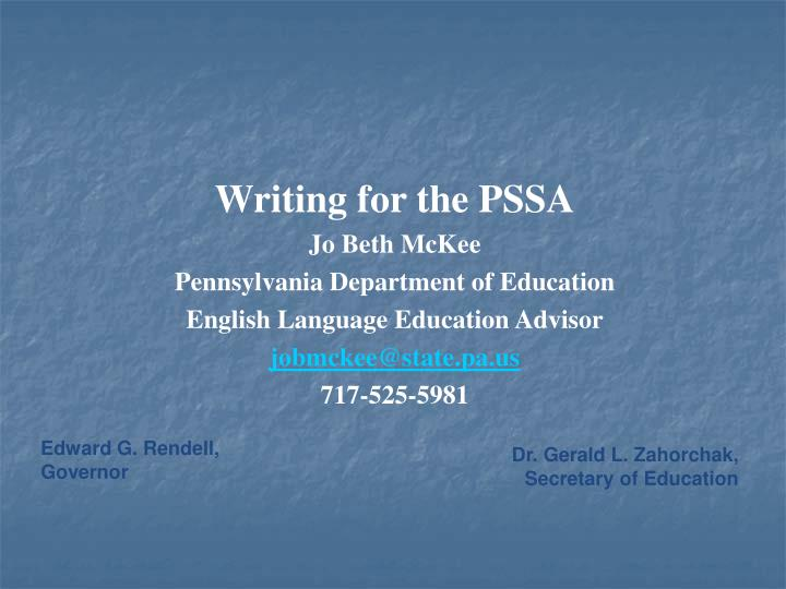 Writing for the PSSA