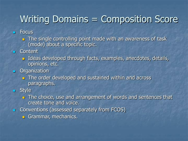 Writing Domains = Composition Score