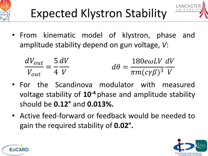 Expected Klystron Stability