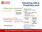 scheduling visits preparatory work
