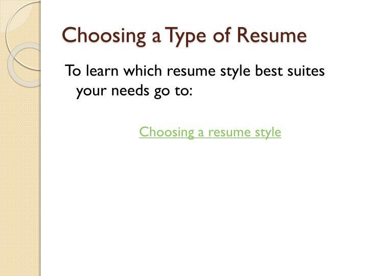 Choosing a Type of Resume