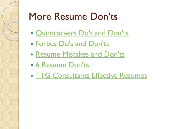 More Resume Don'ts
