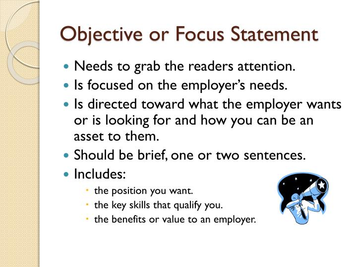 Objective or Focus Statement