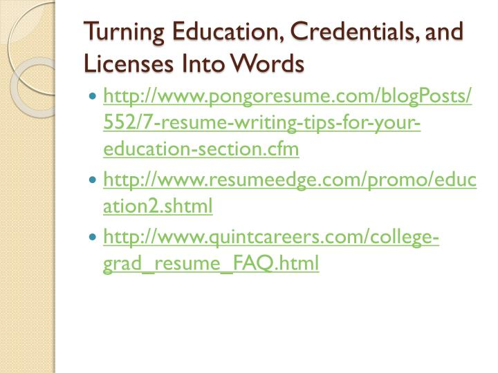 Turning Education, Credentials, and Licenses Into Words