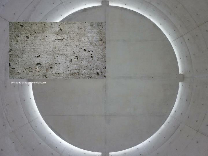 bolhas de ar no betão solidificado