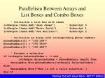parallelism between arrays and list boxes and combo boxes