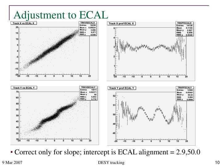 Adjustment to ECAL