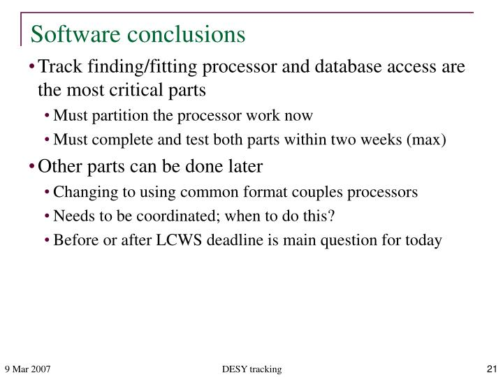 Software conclusions