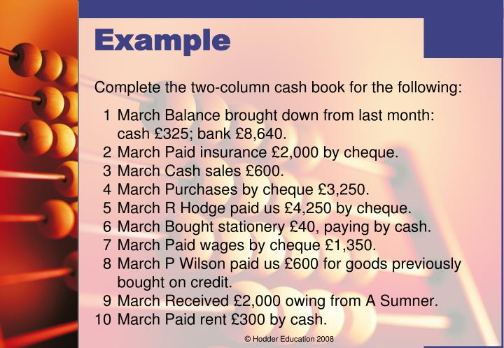 Complete the two-column cash book for the following: