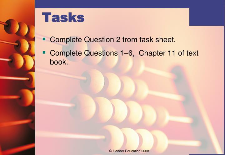 Complete Question 2 from task sheet.