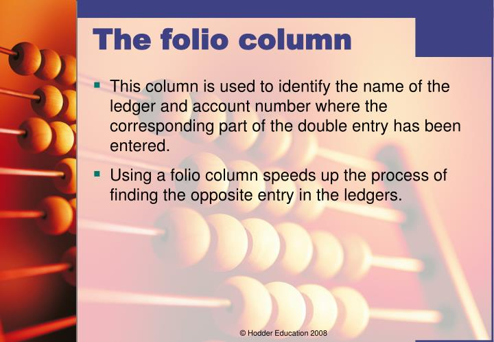 This column is used to identify the name of the ledger and account number where the corresponding part of the double entry has been entered.