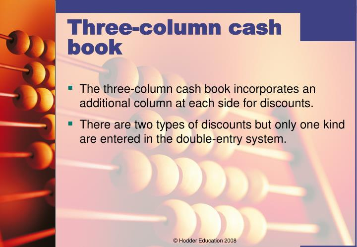 The three-column cash book incorporates an additional column at each side for discounts.
