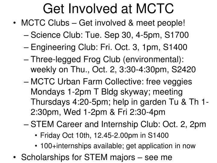 get involved at mctc n.