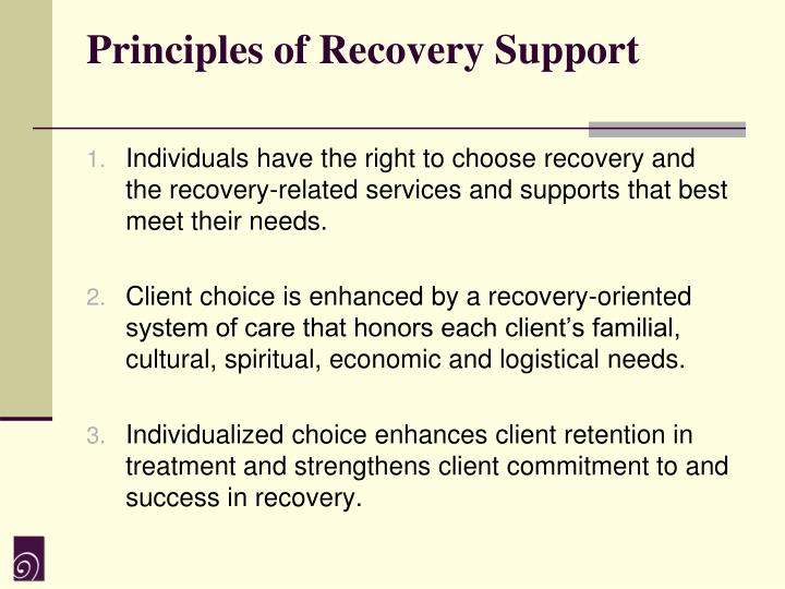 Principles of Recovery Support