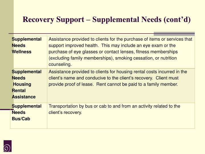 Recovery Support – Supplemental Needs (cont'd)
