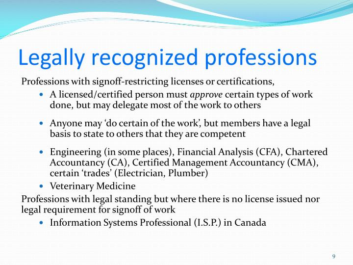 Legally recognized professions