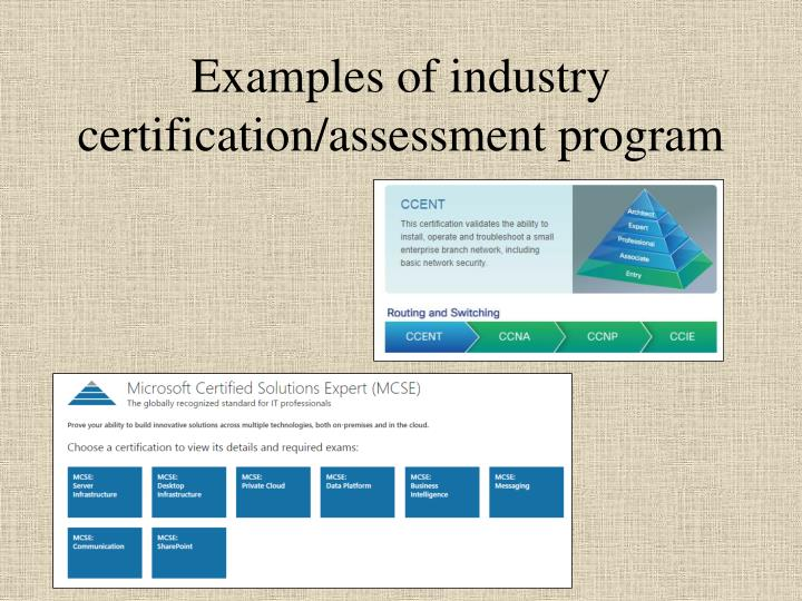 Examples of industry certification/assessment program