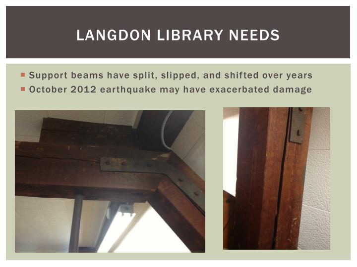 LANGDON LIBRARY NEEDS