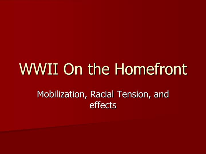 wwii on the homefront n.