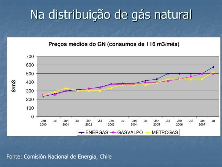 Na distribuição de gás natural