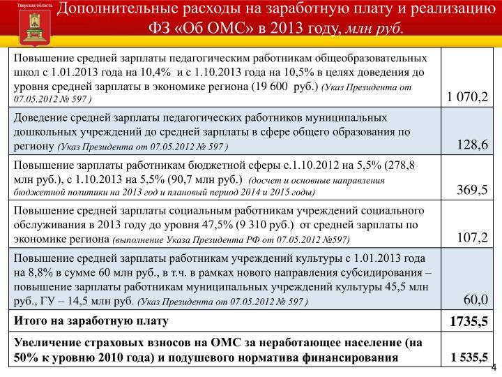 Дополнительные расходы на заработную плату и реализацию ФЗ «Об ОМС» в 2013 году,