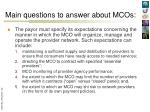 main questions to answer about mcos6