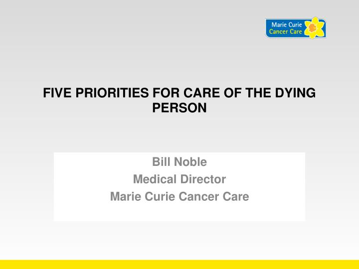 five priorities for care of the dying person n.