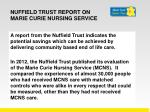 nuffield trust report on marie curie nursing service