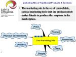 marketing mix of traditional products services