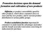promotion decisions upon the demand formation and cultivation of new products